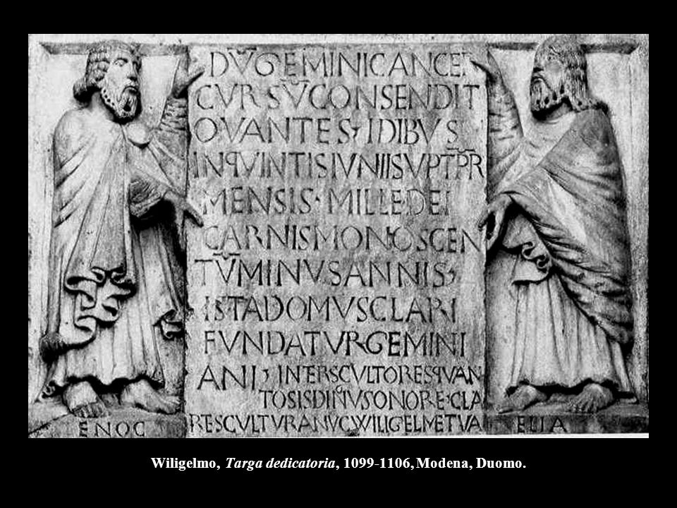 Wiligelmo, Targa dedicatoria, 1099-1106, Modena, Duomo.