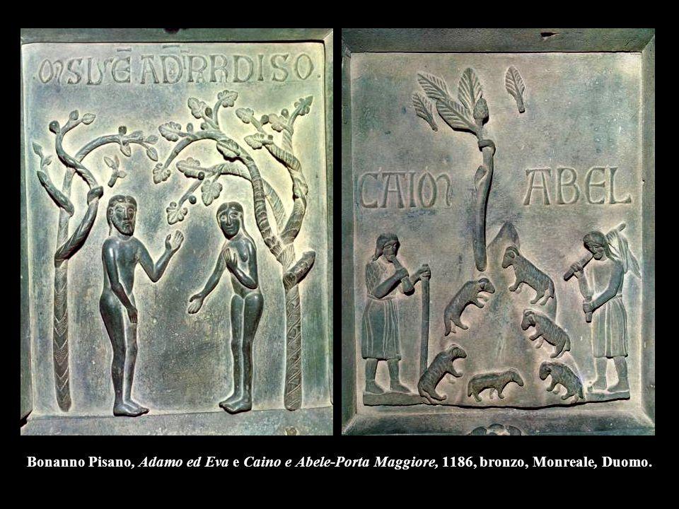 Bonanno Pisano, Adamo ed Eva e Caino e Abele-Porta Maggiore, 1186, bronzo, Monreale, Duomo.