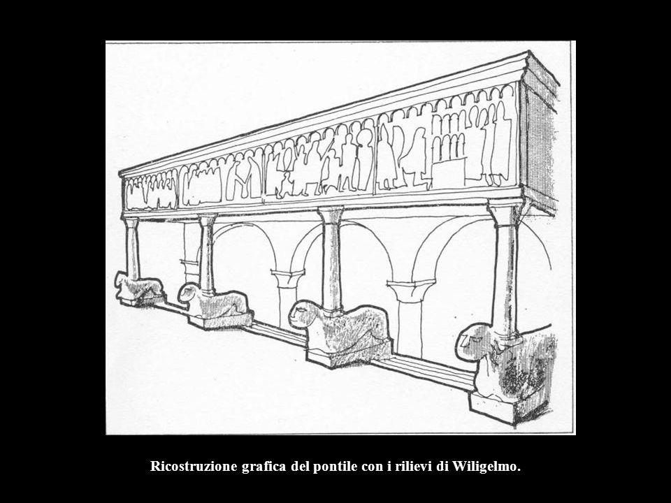 Ricostruzione grafica del pontile con i rilievi di Wiligelmo.