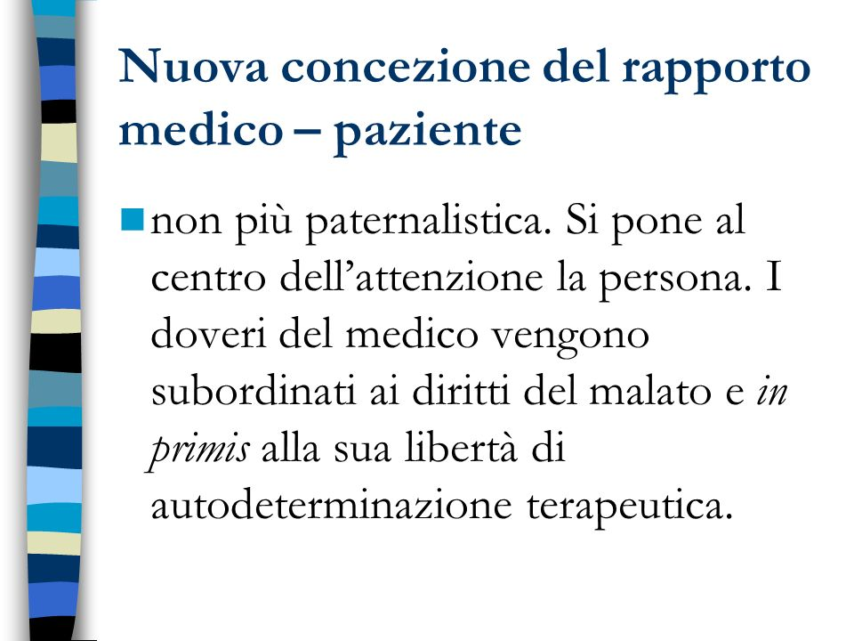Nuova concezione del rapporto medico – paziente