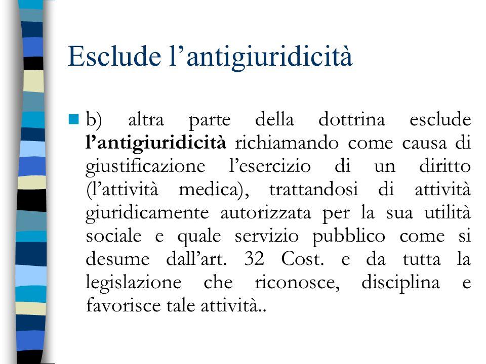 Esclude l'antigiuridicità