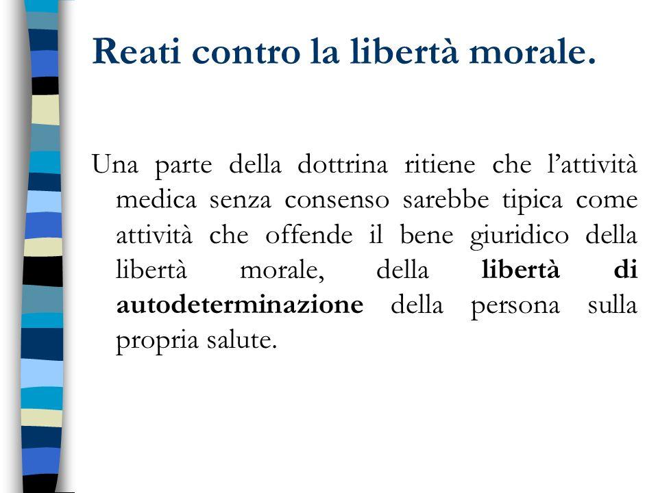 Reati contro la libertà morale.