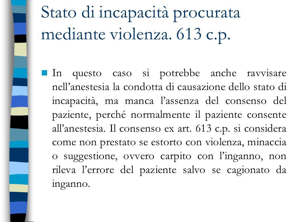 Stato di incapacità procurata mediante violenza. 613 c.p.