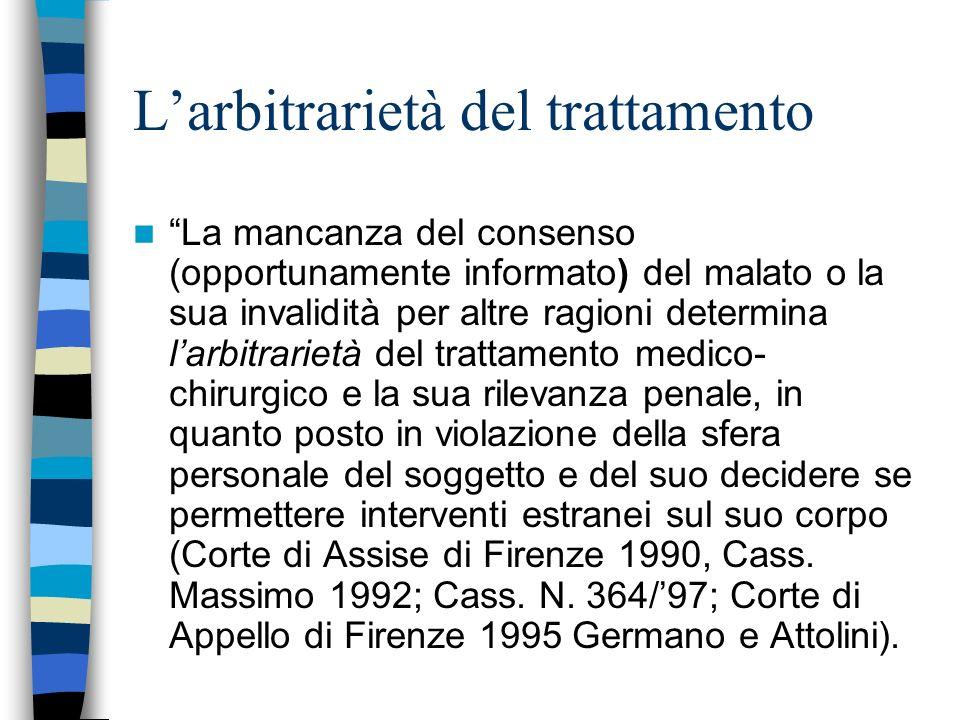L'arbitrarietà del trattamento
