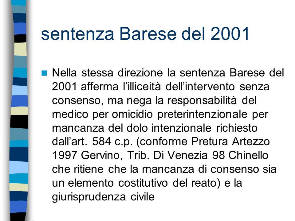 sentenza Barese del 2001