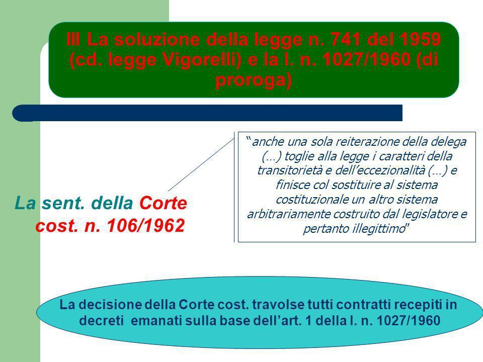 La sent. della Corte cost. n. 106/1962