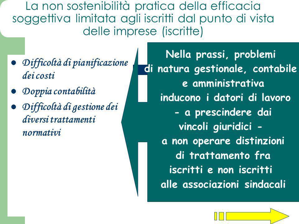 La non sostenibilità pratica della efficacia soggettiva limitata agli iscritti dal punto di vista delle imprese (iscritte)