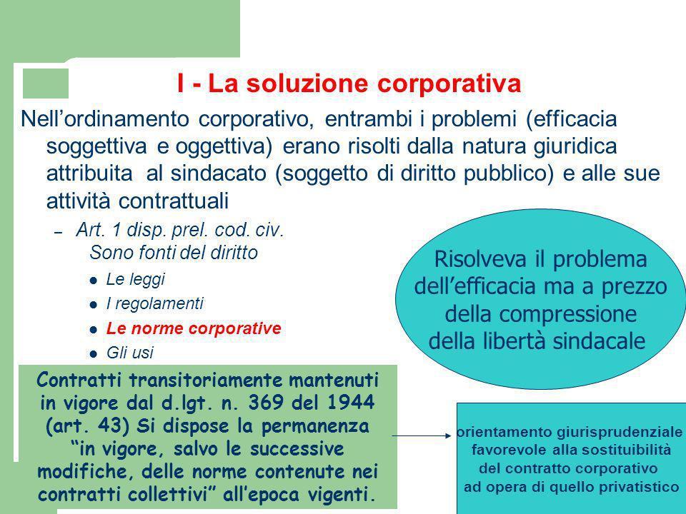 I - La soluzione corporativa