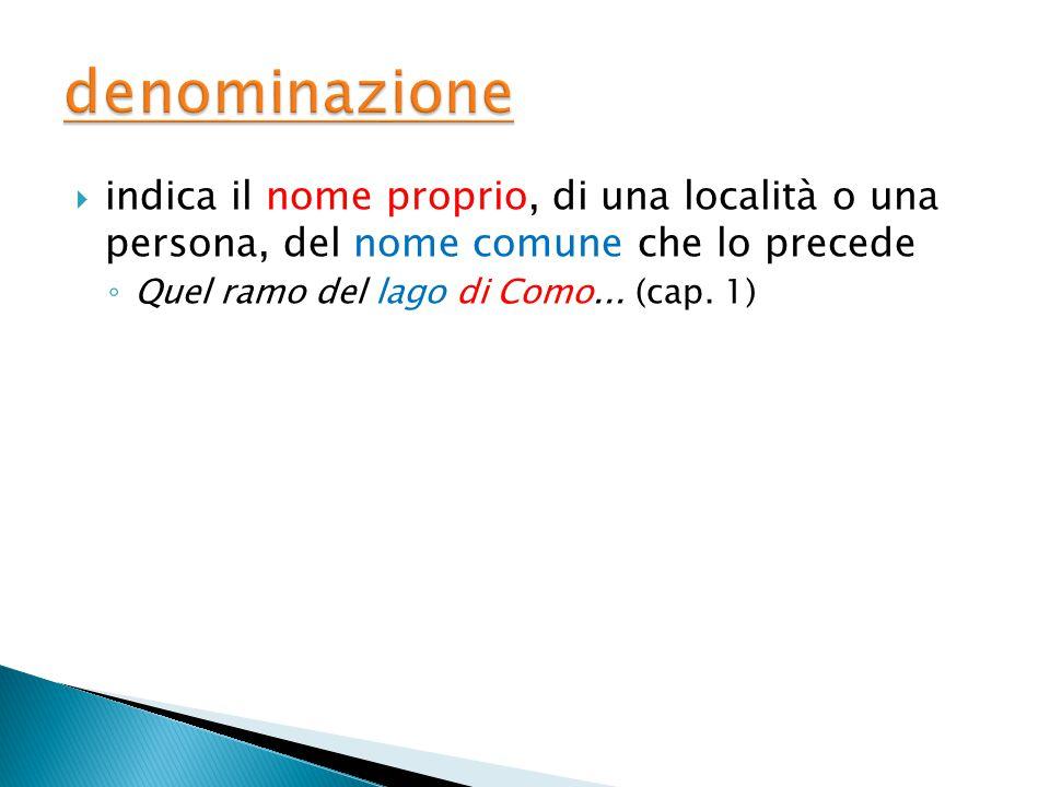 denominazione indica il nome proprio, di una località o una persona, del nome comune che lo precede.