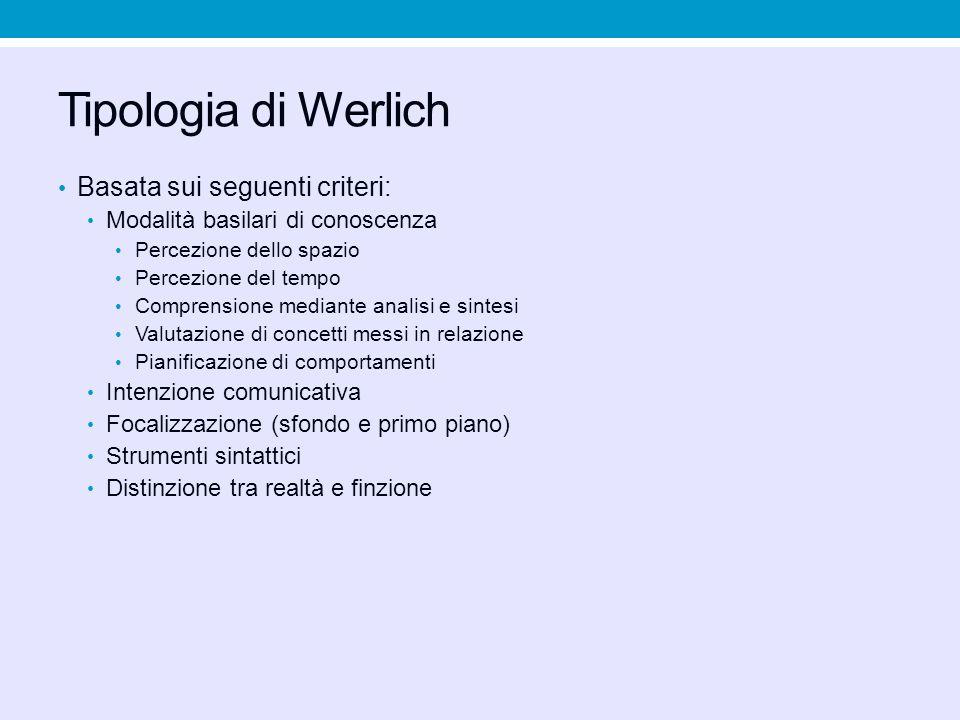 Tipologia di Werlich Basata sui seguenti criteri: