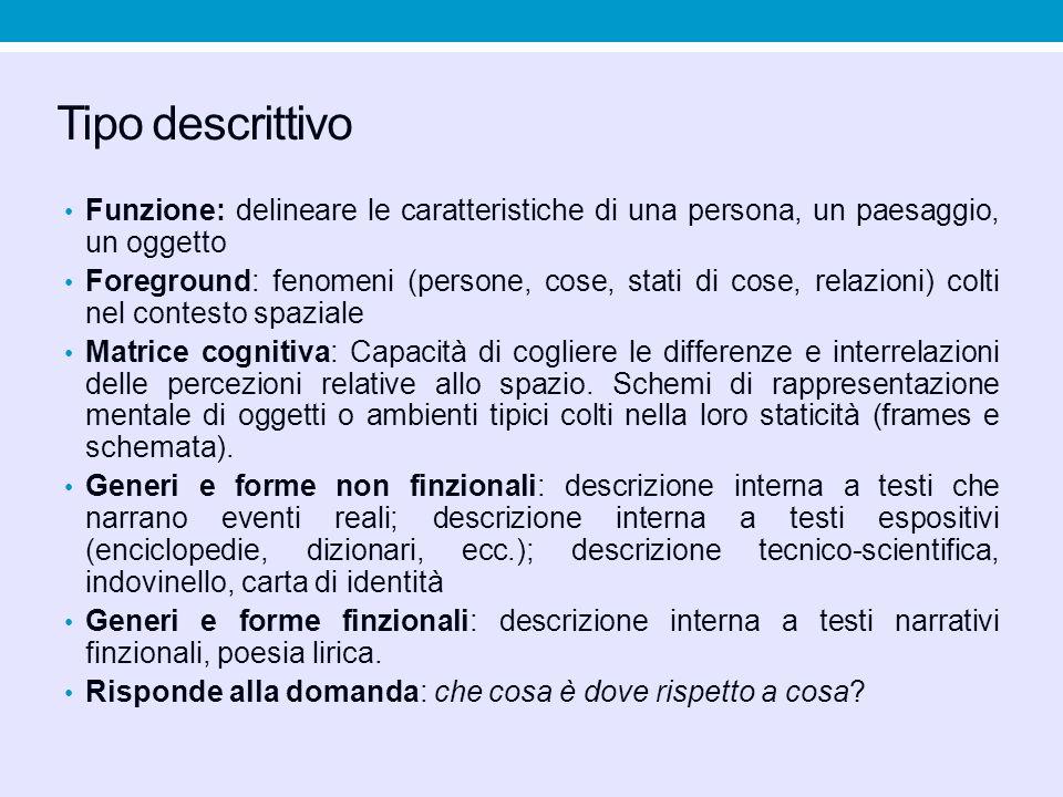 Tipo descrittivo Funzione: delineare le caratteristiche di una persona, un paesaggio, un oggetto.