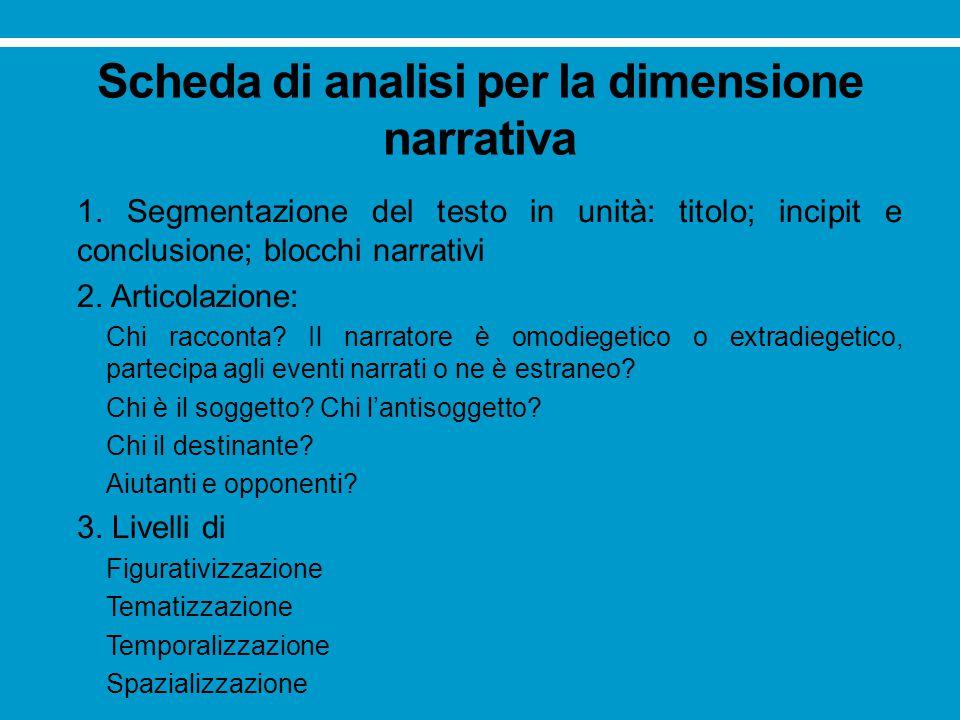Scheda di analisi per la dimensione narrativa