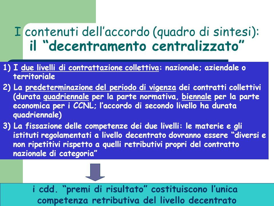 I contenuti dell'accordo (quadro di sintesi):
