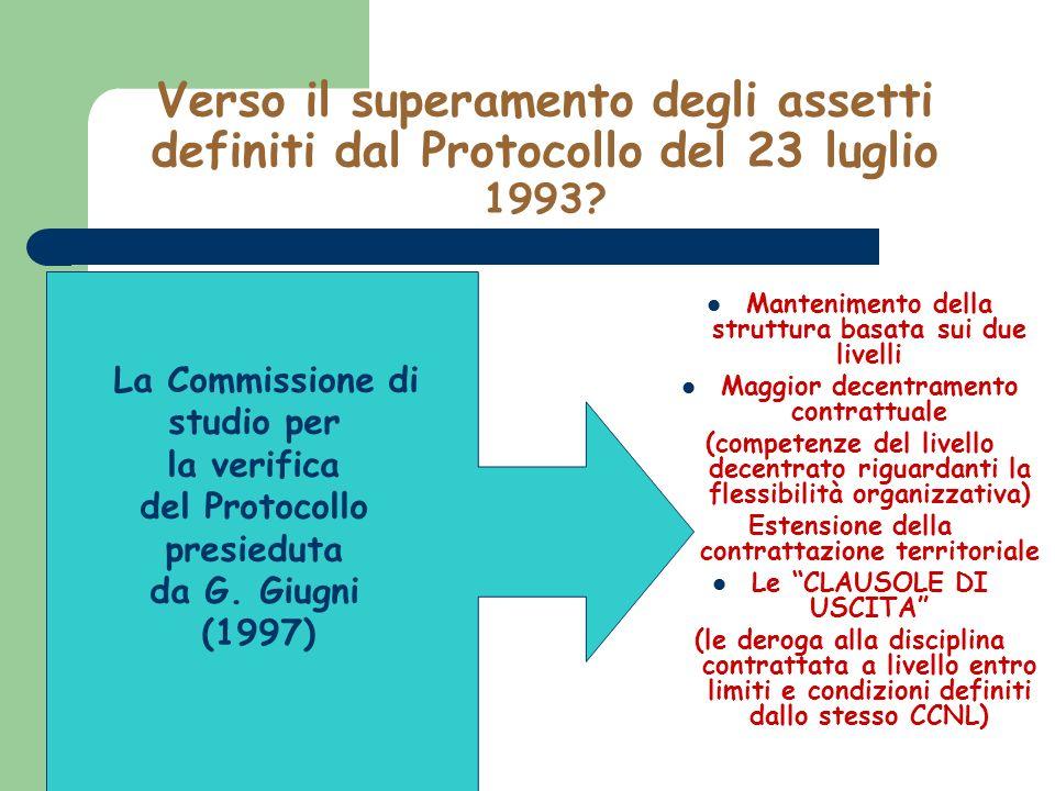 Verso il superamento degli assetti definiti dal Protocollo del 23 luglio 1993