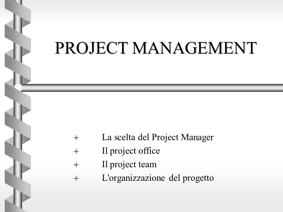PROJECT MANAGEMENT La scelta del Project Manager Il project office