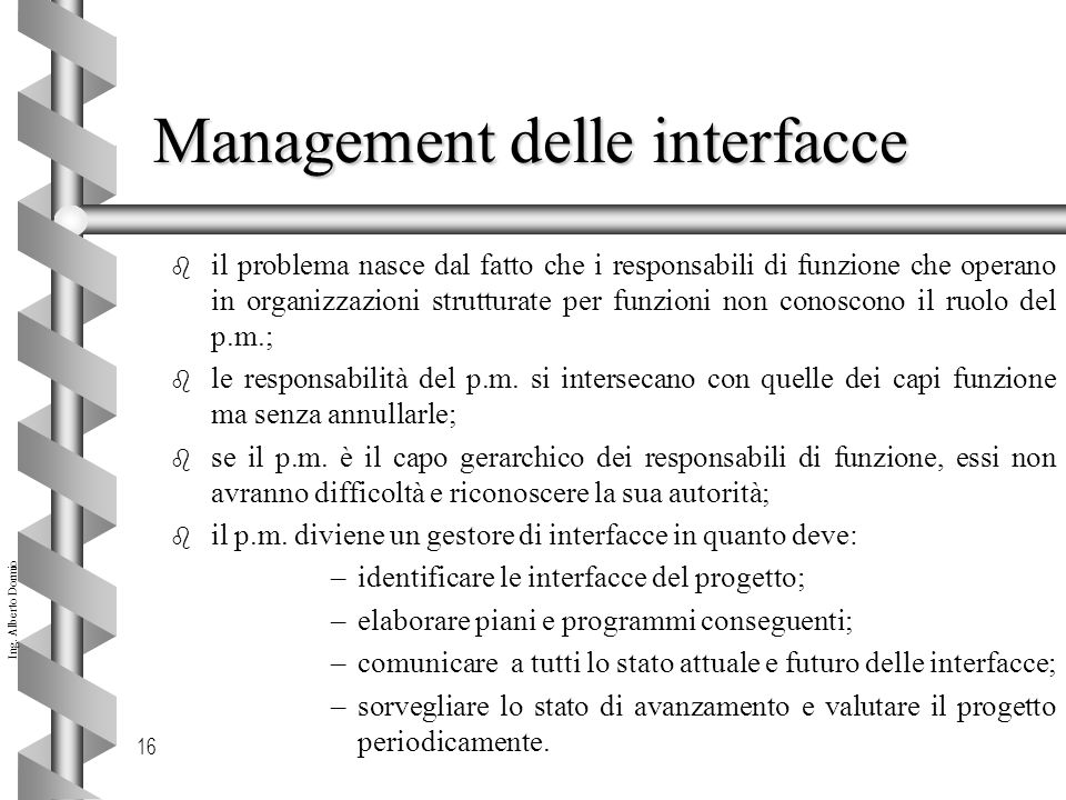 Management delle interfacce