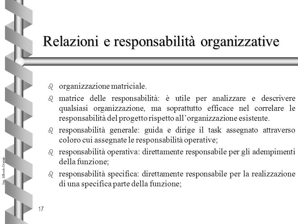 Relazioni e responsabilità organizzative