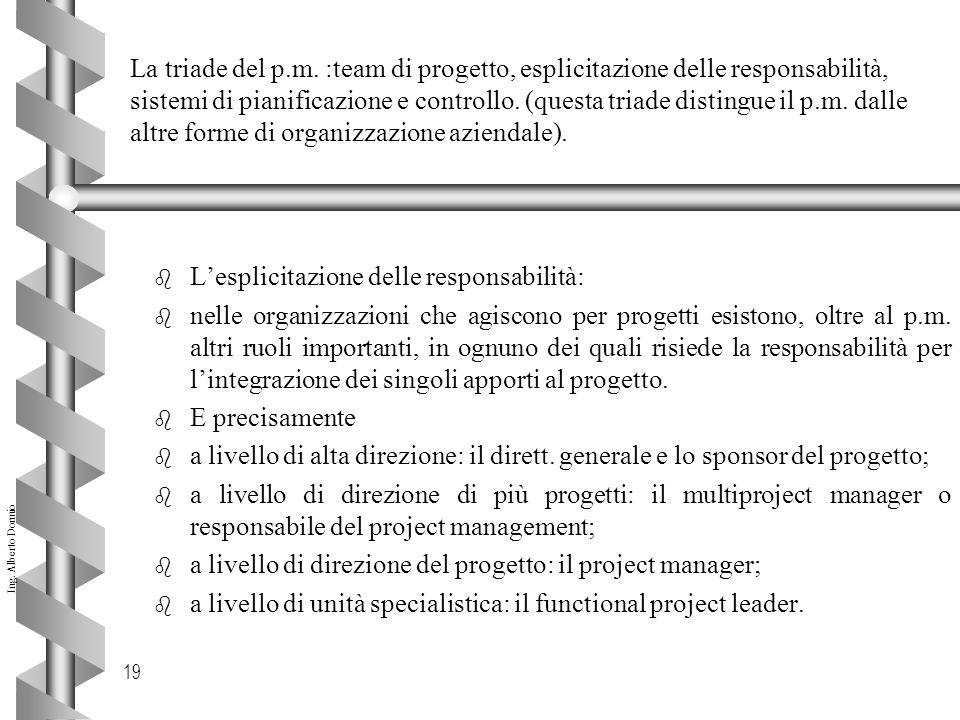 La triade del p.m. :team di progetto, esplicitazione delle responsabilità, sistemi di pianificazione e controllo. (questa triade distingue il p.m. dalle altre forme di organizzazione aziendale).