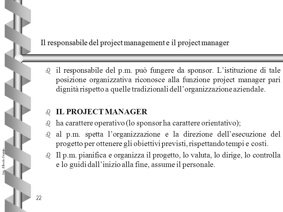 Il responsabile del project management e il project manager