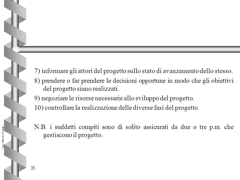 7) informare gli attori del progetto sullo stato di avanzamento dello stesso.