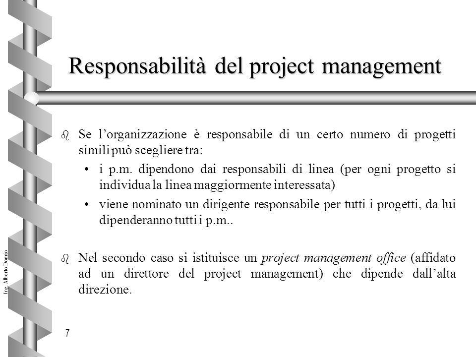 Responsabilità del project management