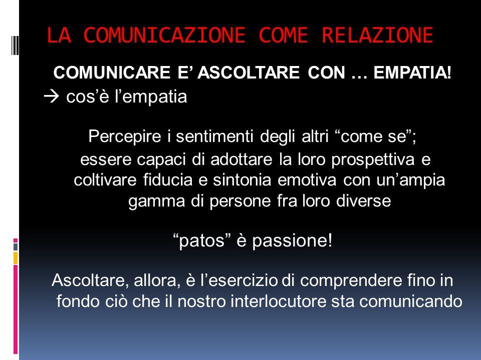 LA COMUNICAZIONE COME RELAZIONE