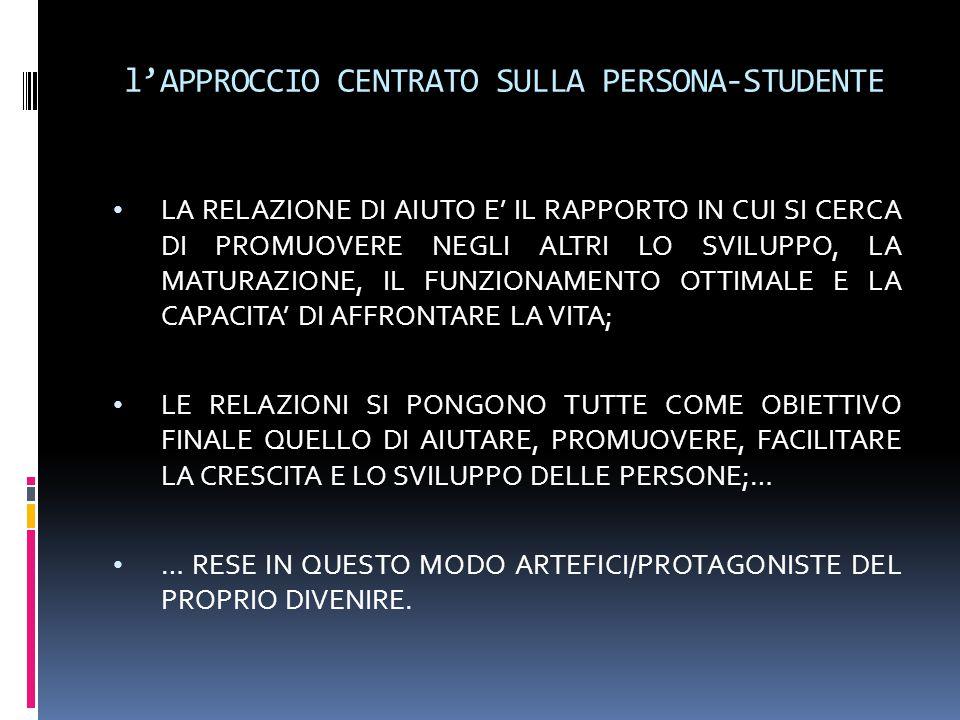 l'APPROCCIO CENTRATO SULLA PERSONA-STUDENTE