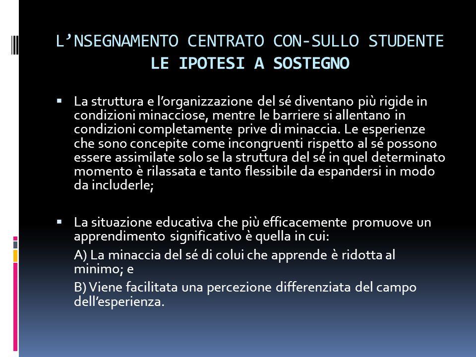 L'NSEGNAMENTO CENTRATO CON-SULLO STUDENTE LE IPOTESI A SOSTEGNO