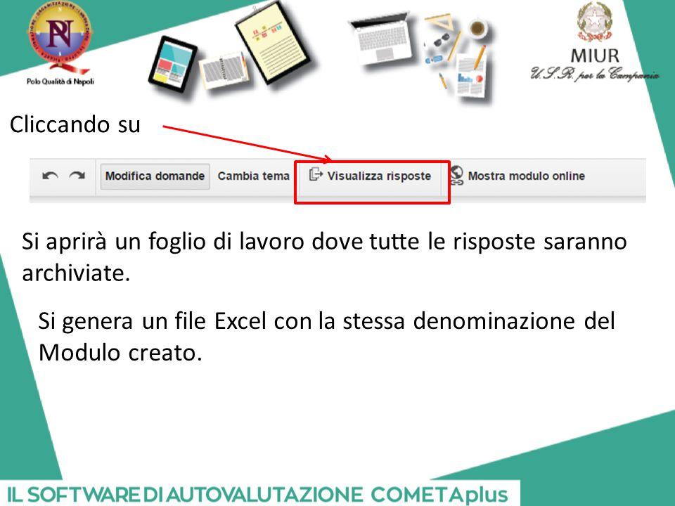 Cliccando su Si aprirà un foglio di lavoro dove tutte le risposte saranno. archiviate. Si genera un file Excel con la stessa denominazione del.