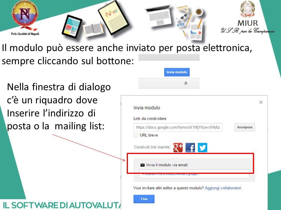 Il modulo può essere anche inviato per posta elettronica, sempre cliccando sul bottone:
