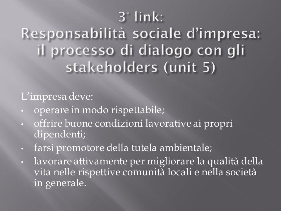 3° link: Responsabilità sociale d'impresa: il processo di dialogo con gli stakeholders (unit 5)