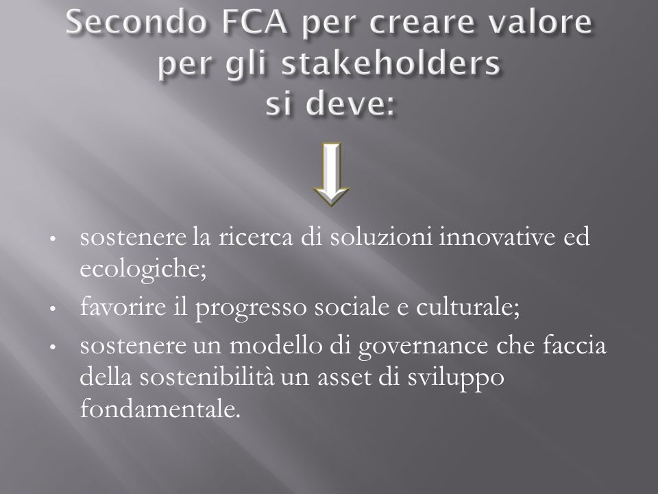 Secondo FCA per creare valore per gli stakeholders si deve: