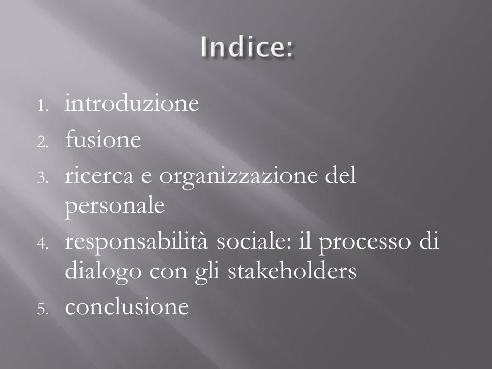 Indice: introduzione fusione ricerca e organizzazione del personale