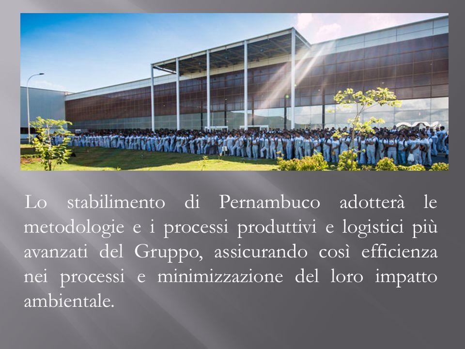 Lo stabilimento di Pernambuco adotterà le metodologie e i processi produttivi e logistici più avanzati del Gruppo, assicurando così efficienza nei processi e minimizzazione del loro impatto ambientale.