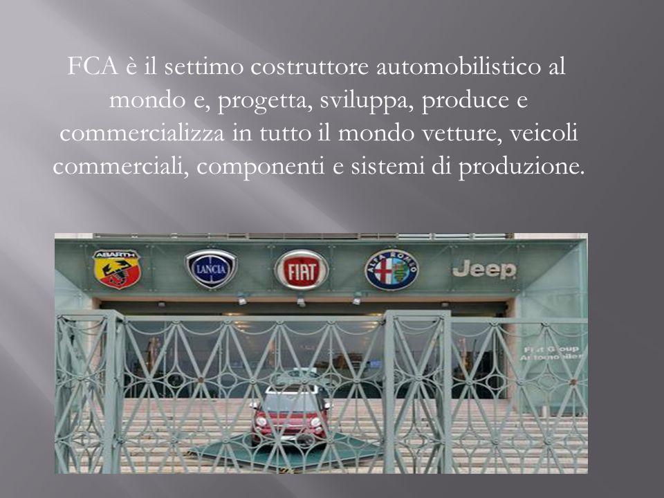 FCA è il settimo costruttore automobilistico al mondo e, progetta, sviluppa, produce e commercializza in tutto il mondo vetture, veicoli commerciali, componenti e sistemi di produzione.