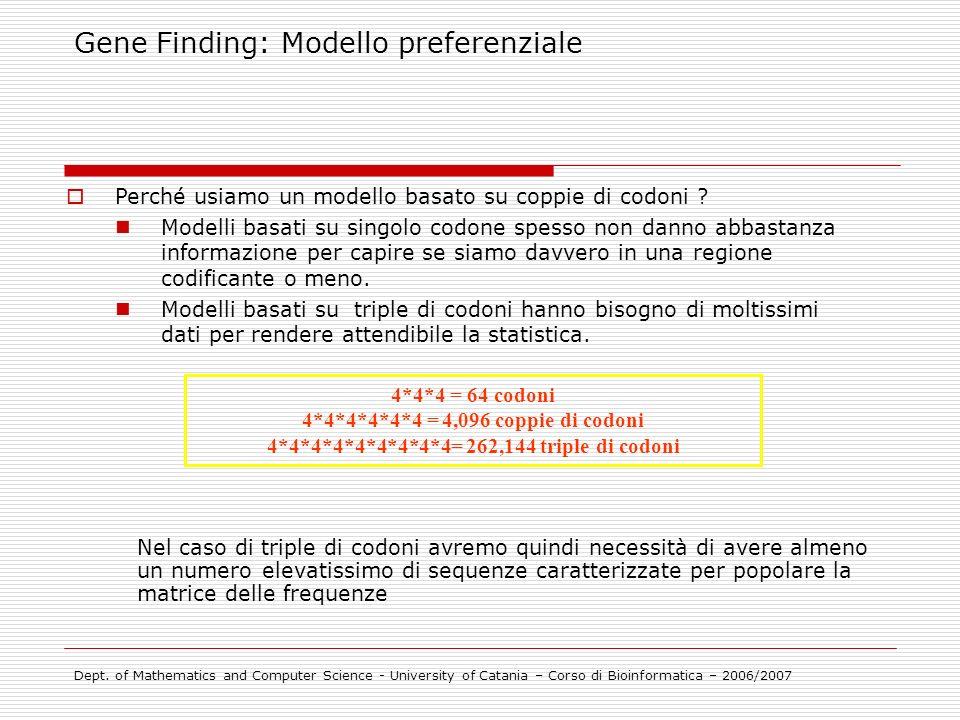 Gene Finding: Modello preferenziale