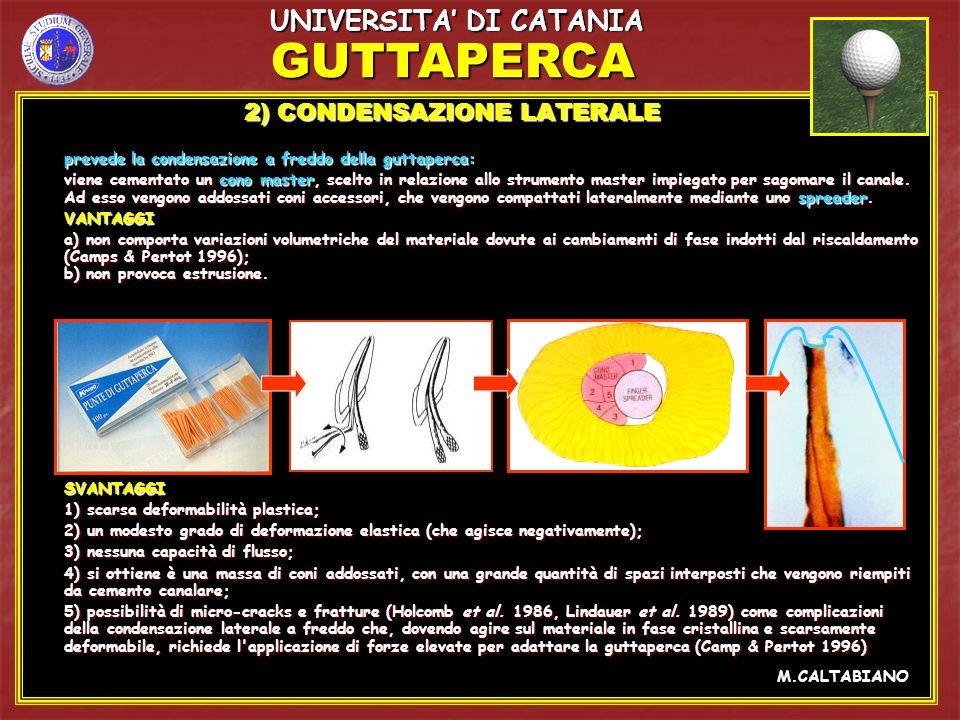 GUTTAPERCA UNIVERSITA' DI CATANIA 2) CONDENSAZIONE LATERALE