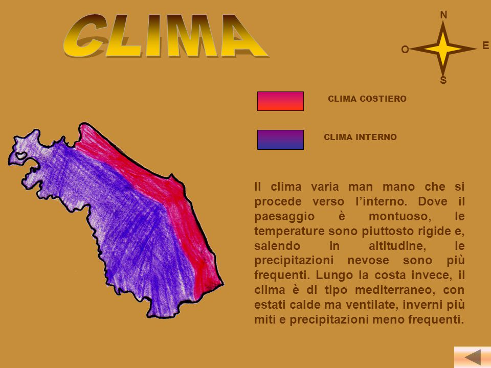 CLIMA N E O S CLIMA COSTIERO CLIMA INTERNO