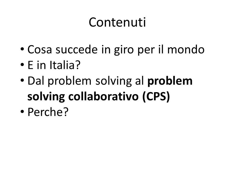 Contenuti Cosa succede in giro per il mondo E in Italia