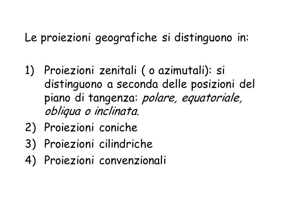 Le proiezioni geografiche si distinguono in:
