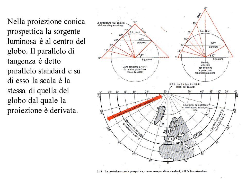 Nella proiezione conica prospettica la sorgente luminosa è al centro del globo.
