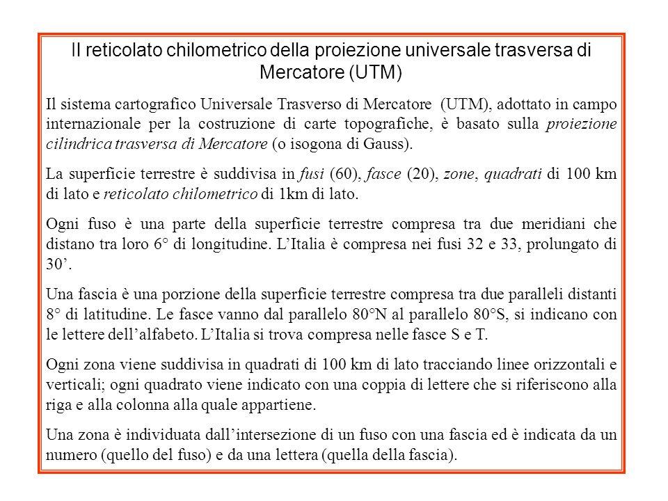Il reticolato chilometrico della proiezione universale trasversa di Mercatore (UTM)