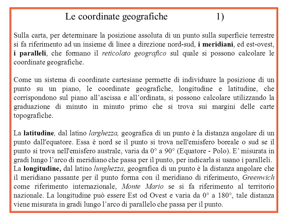 Le coordinate geografiche 1)