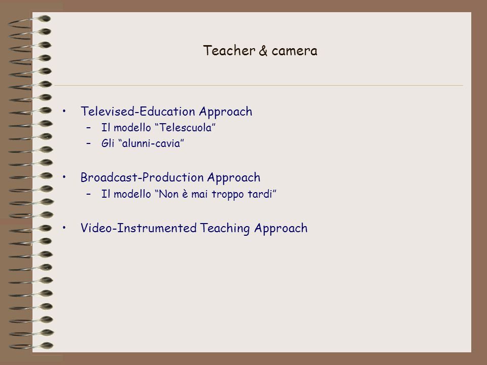 Teacher & camera Televised-Education Approach