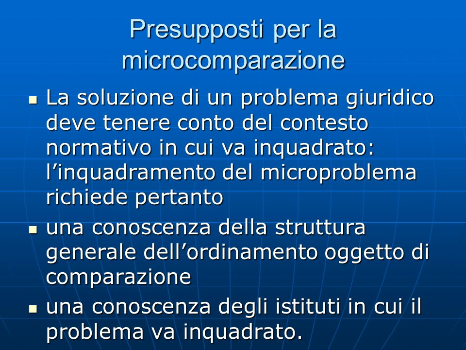 Presupposti per la microcomparazione