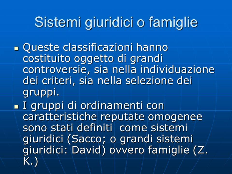 Sistemi giuridici o famiglie