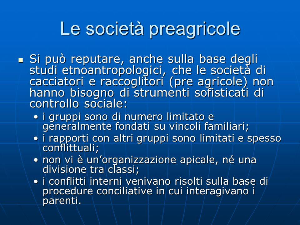 Le società preagricole