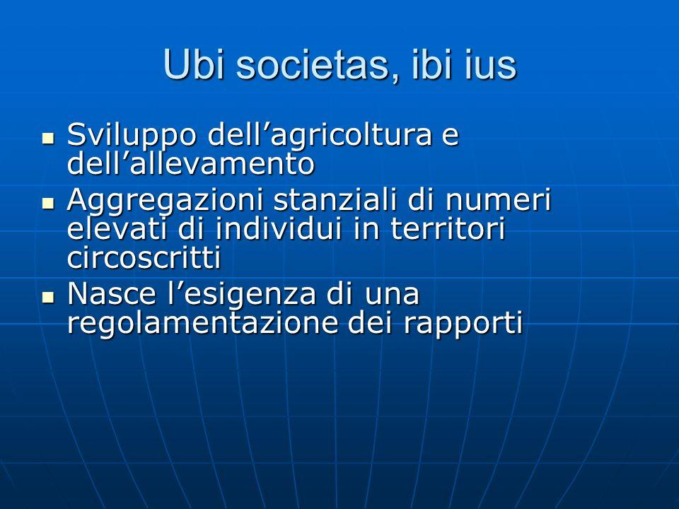 Ubi societas, ibi ius Sviluppo dell'agricoltura e dell'allevamento