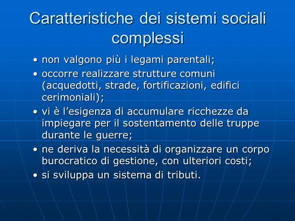 Caratteristiche dei sistemi sociali complessi