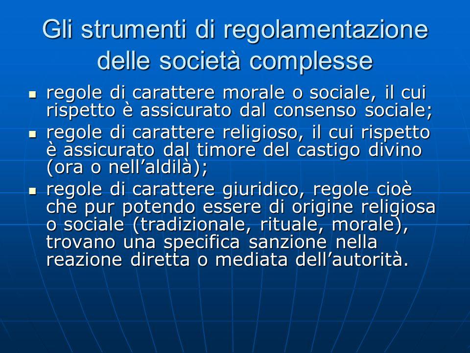 Gli strumenti di regolamentazione delle società complesse